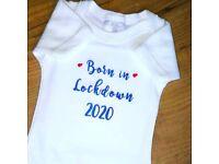 Personalised baby Body Vest 'Born in Lockdown'