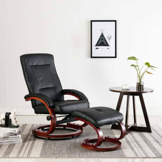 Purchase Reclining Chair with Footstool Black Faux Leather ...