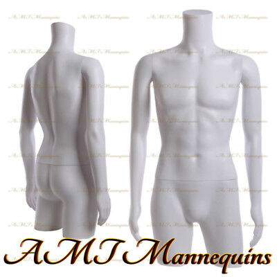 Male Mannequin Dress Form With Rotated Arms Hips - White Plastic Torso Mt-2w