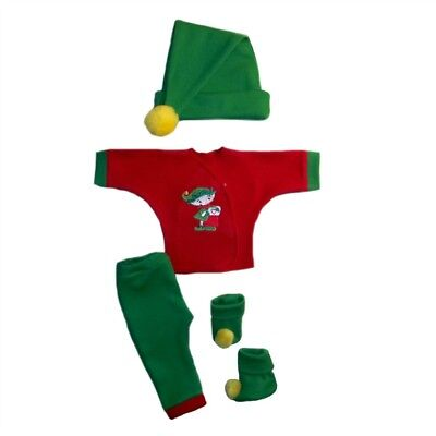 Santa's Christmas Elf 4 Piece Baby Clothing Outfit - 4 Preemie and Newborn Sizes - Elf Outfit Baby