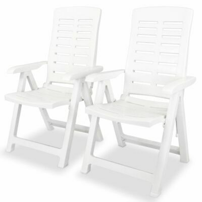 vidaXL 2x Reclining Garden Chairs Plastic White Outdoor Chai
