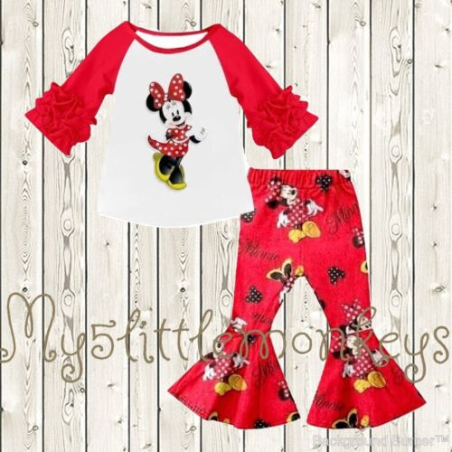 NEW Bouique tMinnie Mouse Ruffle Sleeve Shirt & Bell Pants Boutique Girls Outfit