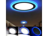NEW LED Round Recessed Ceiling Panel Light 18w 3 in 1 Coloured Cool White - Blue Brand new