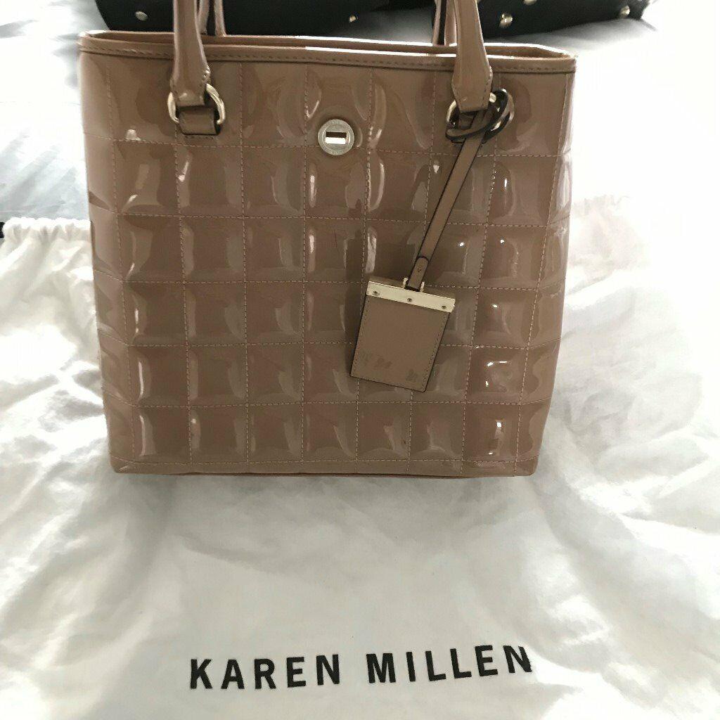 de21ba285c Patent leather nude Karen Millen hand bag