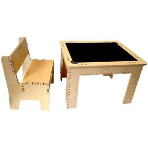 Anatex Flip Top Dry Erase and Chalk Table with Bench, Reversible. Natural Wood. Made in USA. Art n Craft. NEW