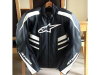 Alpinestars CR Leather Motorcycle Sports Jacket Black/White USA 46 EUR 56 (not Dainese or RST)