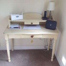 Hall Table or Desk! Cream wood! Lovely item. Matching chair!