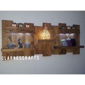 Reclaimed Wooden LED Light Display Shelf