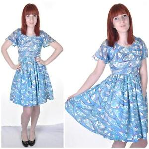 VINTAGE-1950s-1960s-Blue-Floral-Pattern-8-Full-Skirt-Prom-Day-Dress-Pastel