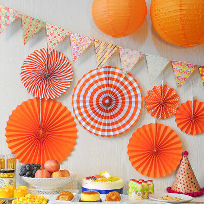 6PCS Tissue Paper Fans Pom Poms Ball Wedding Party Living Room Decor Orange ()