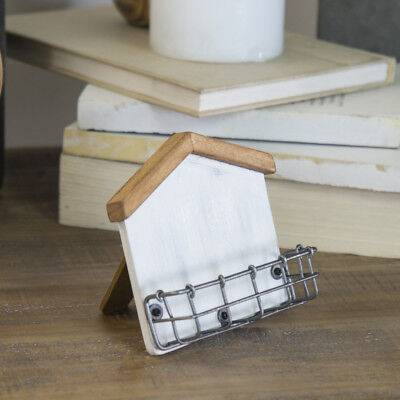 White House Shaped Business Card Holder Display With Easel Wooden Weathered