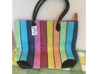BNWT multicoloured zipped shopping/beach bag