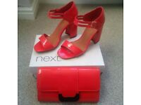 Red High Heels Size 6 & Matching Bag - Ideal for Xmas