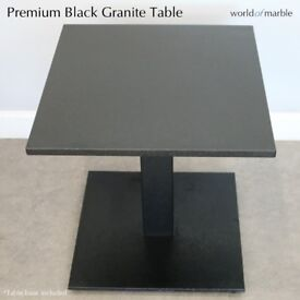 NEW 20mm Premium Black Granite Table with base, Polished, 490 x 510mm, Garden, Coffee Table