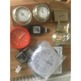 Clocks - various- Box of Clocks - Job Lot - 9 Quantity