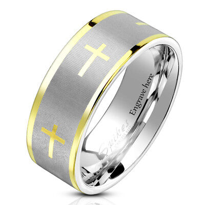 Personalized Engraved Christian Cross Men's Promise Ring Wedding Band 8MM Christian Cross Wedding Band