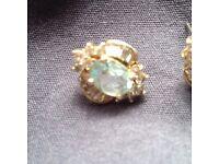 Antique 18ct gold platinum monted diamond and aquamarine earings