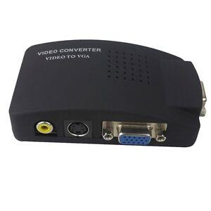 TV AV S Video RCA Composite to VGA PC Monitor Converter Adapter Box AU