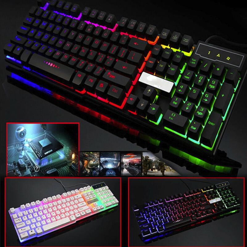 Rainbow Backlight Usb Ergonomic Gaming Keyboard And Mouse Se