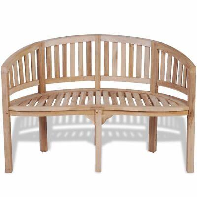 vidaXL Solid Teak Wood Bench Banana Shape 2-Seater Outdoor Garden Chair Seat ()