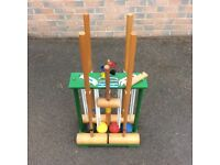 Croquet set. Manufactured by Webber of Exeter.