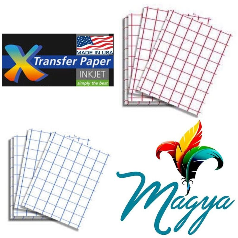 InkJet T Shirt HEAT TRANSFER PAPER Combo 50 Sh Each Dark & Red Grid 8.5x11""