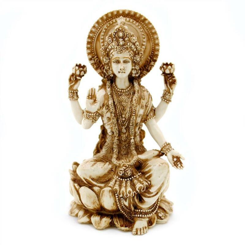 "LAKSHMI STATUE 4"" Hindu Wealth Goddess Laxmi High Quality Ivory Color Resin New"