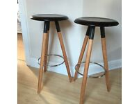 2 Danish bar stools by Boconcept. As new. Black laquer / walnut legs. h 77cm. £160 the pair