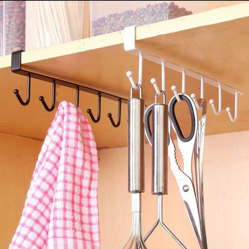 2Pcs Hanger Rack Kitchen Storage Rack Cupboard 6 Hooks Under