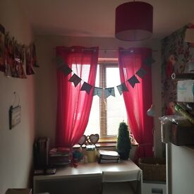 Pink bedroom curtains, bin lamp shade and accessories