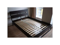 IKEA TRYSIL dark brown double bed frame, FREE DELIVERY