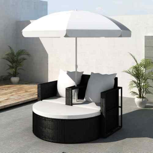 Garden Furniture - Garden Lounge Set With Parasol Deluxe Patio Outdoor Furniture Rattan Daybed