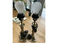 Pair of metal table lamps - £10 for the pair