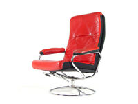 Retro Vintage Danish Reclining Leather Swivel Lounge Chair Armchair Recliner 70s