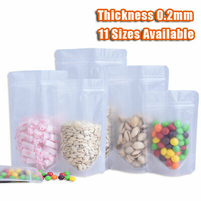 - Clear Frosted Stand Up Ziplock Bag Resealable Plastic Food Grade Pouch 11 Sizes