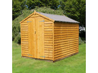 8 x 6 foot Wooden Garden Shed - New with all fixings and felt - B grade as stored toutside
