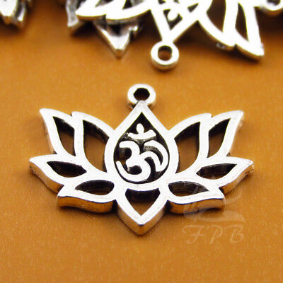 Lotus Flower 20mm Wholesale Antiqued Silver Plated Yoga Ohm Charms - 8/15/30PCs (Yoga Charms)