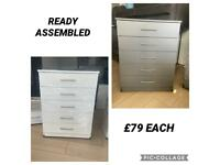 READY ASSEMBLED BRAND NEW CHEST OF DRAWERS. DELIVERY AVAILABLE.