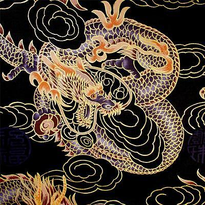 Gorgeous Metallic Gold Etched Purple Dragons on Black, Daiwabo by Trendtex - Purple Metallic