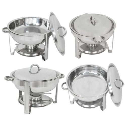 4 Pack Buffet Catering Stainless Steel Chafer Round Chafing Dish 5Qt Party Pack Business & Industrial