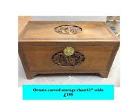 Unique vintage storage chest with intricate carvings