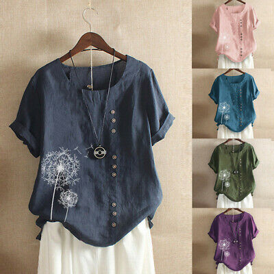 Damen Kurzarm Löwenzahn Printed Knopf Baggy Freizeit Leinen T-Shirt Tops Bluse - Leinen Bluse Shirt