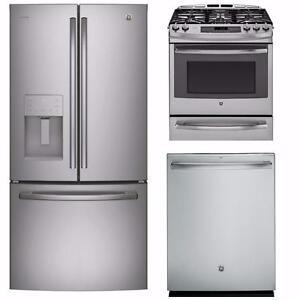 Combo Cuisine en acier inoxydable : Frigo 33'', Cuisinière 30'' et Lave-vaisselle 24'' GE profile