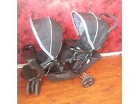 pram (DOUBLE) as New, GRACO, Stadium Duo with Rain Cover, Foot Muff, Manuals & Brochures