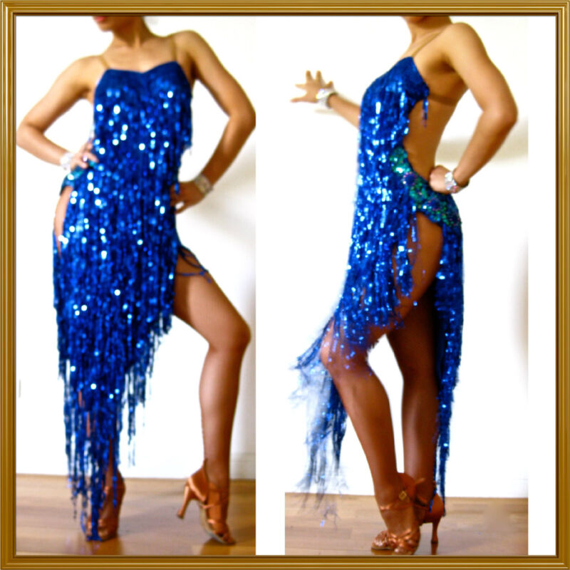 BLUE LATIN SALSA RUMBA SHINY FRINGE PRO DANCE DRESS