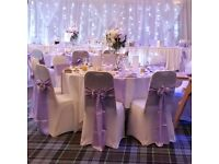 Glasgow Wedding Venue Decoration, Table Centrepieces and Chair Covers by Valerie