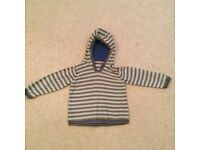 grey and green striped boy's mothercare jumper 1.5-2 years