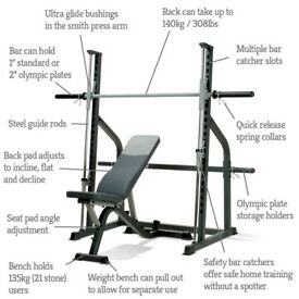smith machine ,weight bench, weights