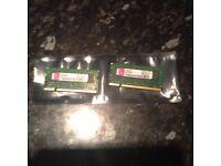 2 Gig 2 x 1 gig sticks of Kingston DDR2 SODIM laptop memory matched pair