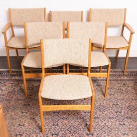 Set of six Mid-Century Danish Erik Buch Model 89 Dining chairs